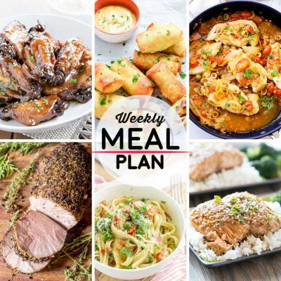 Weekly Meal Plan #7! A simple weekly meal plan to help you keep things tasty throughout the week, featuring crock pot sticky chicken wings, corned beef egg rolls, and bacon and broccoli fettuccine alfredo, and more! | HomemadeHooplah.com