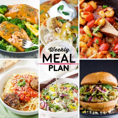 Weekly Meal Plan #8! A meal plan to help you keep things tasty each week, featuring honey mustard salmon, cheesy chicken enchiladas, spicy garlic shrimp and tomatoes, and more! | HomemadeHooplah.com