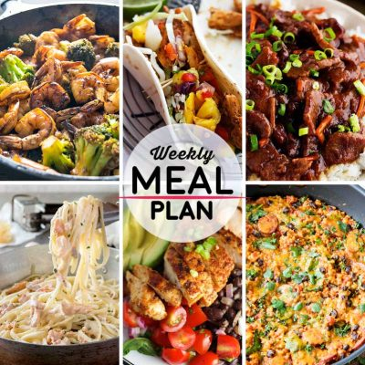 Weekly Meal Plan #9! A meal plan to help you keep things tasty each week, featuring honey garilc shrimp and broccoli, caribbean chicken tacos, slow cooker mongolian beef, and more! | HomemadeHooplah.com