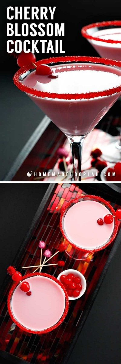 Cherry Blossom Cocktail! This grown-up version of a pink milkshake is everything you want it to be: a cherry blossom drink that's sweet and creamy and with a tiny bit of a bite. | HomemadeHooplah.com