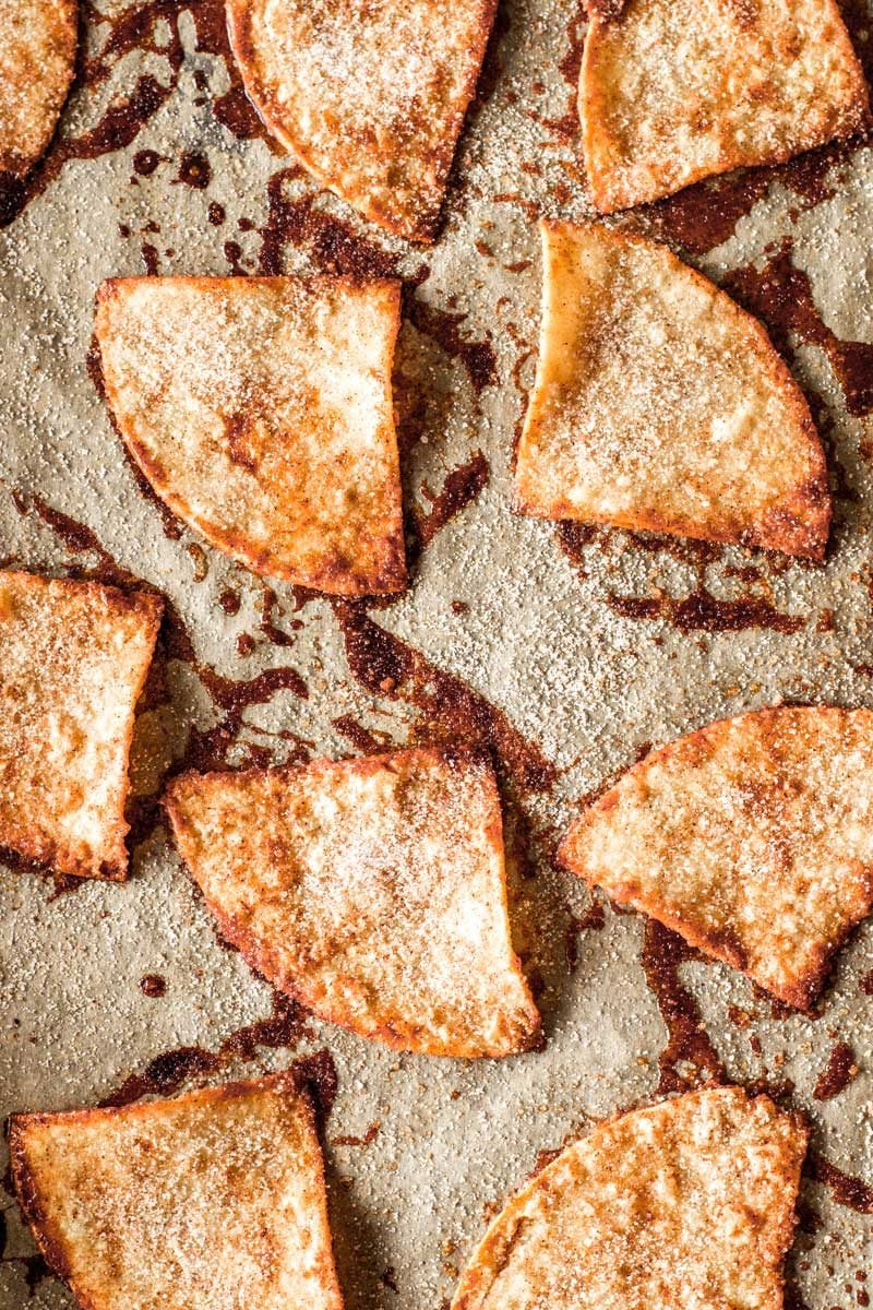 Baked tortilla chips with cinnamon and sugar.