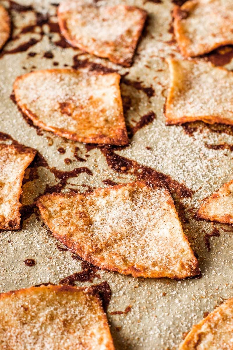 Baked cinnamon sugar tortilla chips.