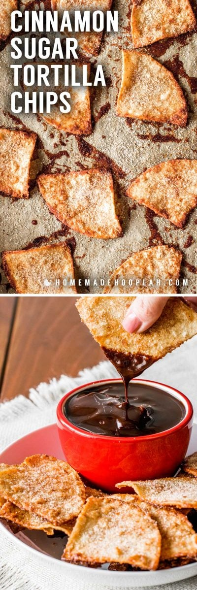 Cinnamon Sugar Tortilla Chips! These baked cinnamon tortilla chips are easy to make and perfect for dipping in all sorts of sweet desserts and frostings. Plus, they're a great and creative way to use up extra tortillas.   HomemadeHooplah.com