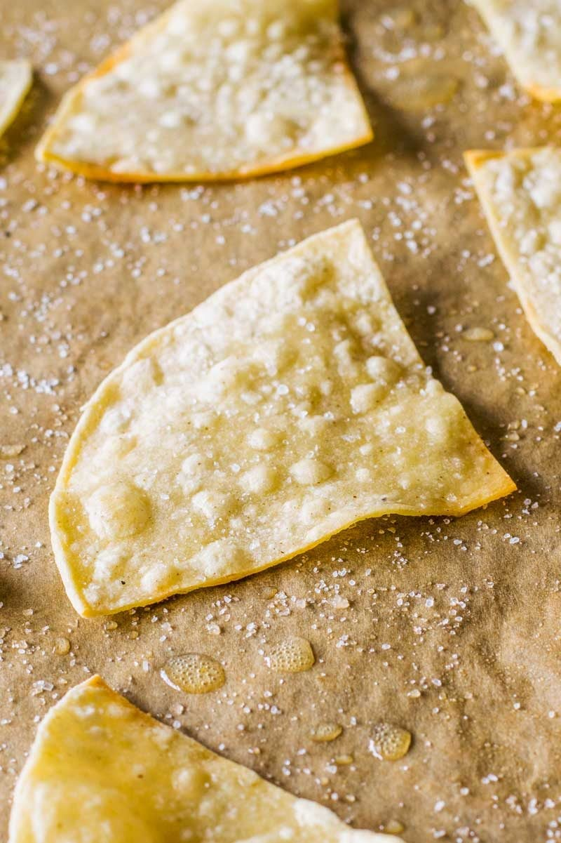How to make baked tortilla chips.
