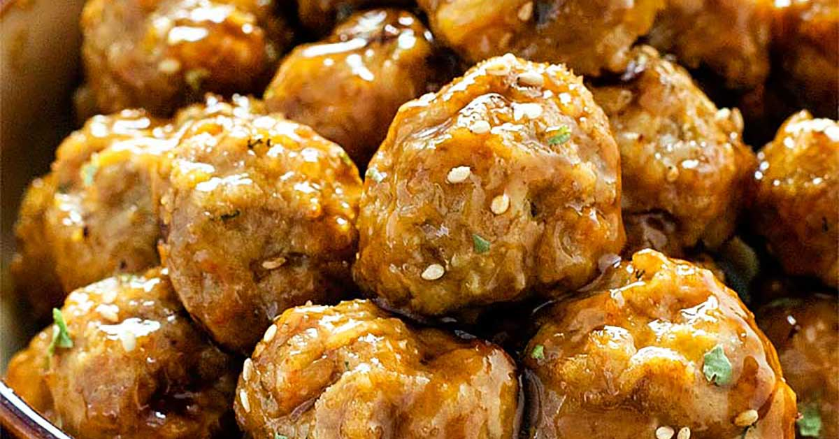 Teriyaki Pork and Shrimp Meatballs - Homemade Hooplah