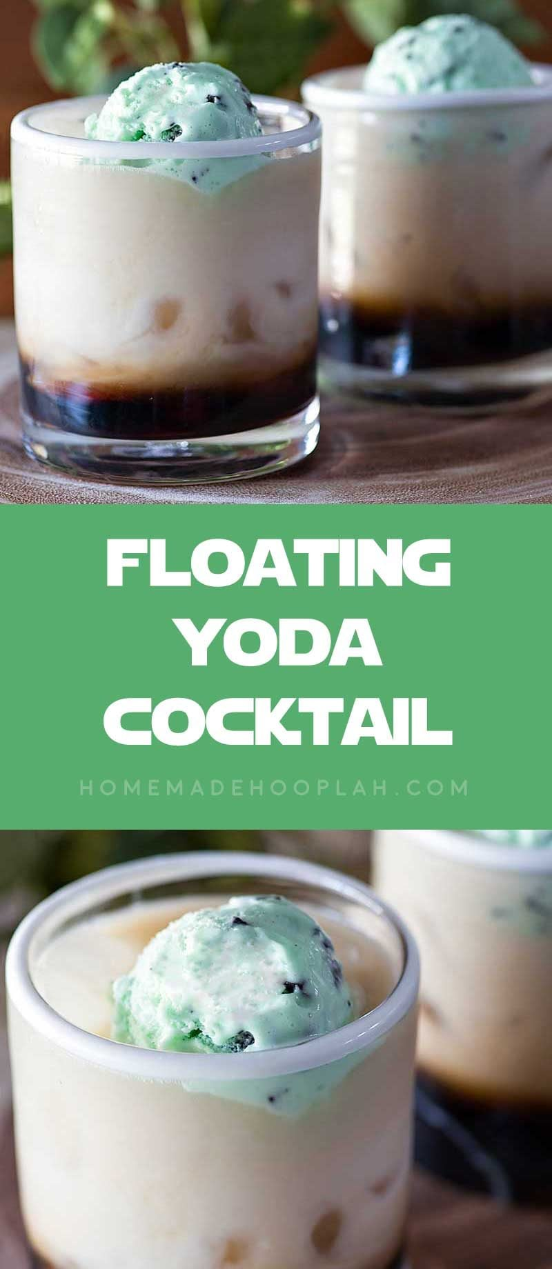 Floating Yoda Cocktail! Celebrate May the Fourth (or any movie night!) by honoring the most revered Jedi master with this fun and minty Yoda cocktail. | HomemadeHooplah.com