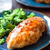 One Pan BBQ Chicken! Perfect for summer cooking, this one pan chicken recipe is easy (only 5 ingredients) and comes together in less than 20 minutes!   HomemadeHooplah.com #AllCladd5