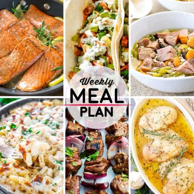 Weekly Meal Plan #11! A meal plan to help you keep things tasty each week, featuring lemon rosemary salmon, buffalo chicken tacos, crock pot ham soup, and more! | HomemadeHooplah.com
