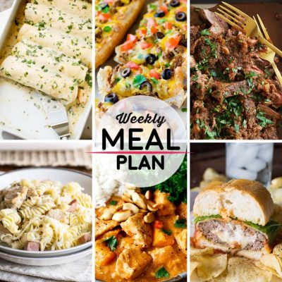 Weekly Meal Plan #12! A meal plan to help you keep things tasty each week, including shrimp enchiladas, taco french bread pizza, mocha rubbed shredded beef, and more! | HomemadeHooplah.com