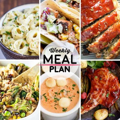 Weekly Meal Plan #15! A meal plan to help you keep things tasty each week, including cheese tortellini in garlic basil sauce, blackened salmon tacos, turkey meatloaf, and more! | HomemadeHooplah.com