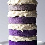 Naked Purple Ombre Layer Cake! Beautiful layers of moist cake made in different hues of purple for a trendy ombre design topped with creamy vanilla buttercream frosting. Easy to decorate and fun to eat!   HomemadeHooplah.com