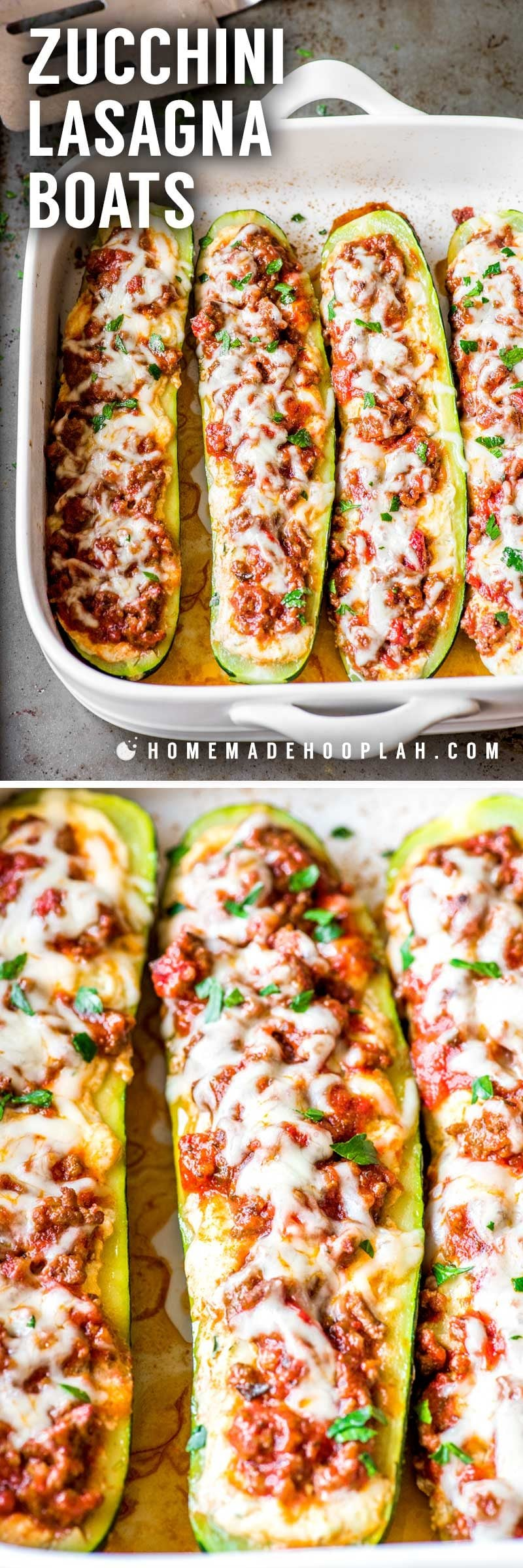 An easy recipe for zucchini boats where each boat is only 346 calories.