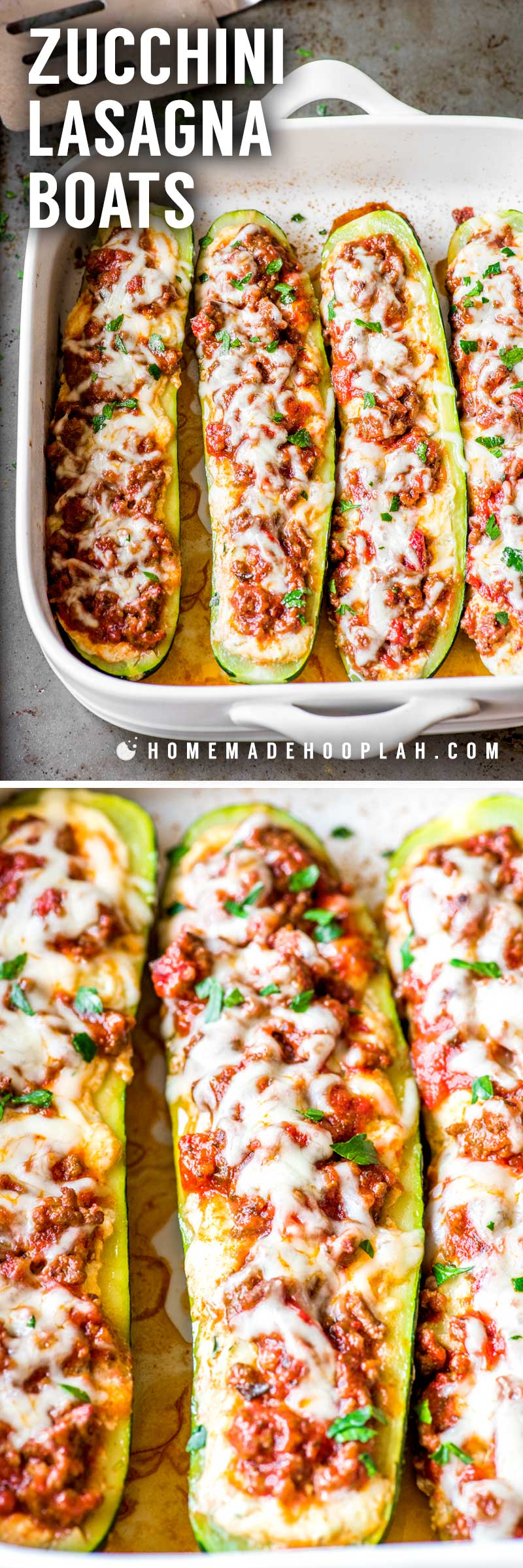 Zucchini Lasagna Boats! Tender baked zucchini filled with a mix of flavorful cheeses and topped with a meaty Ragu sauce. Plus, it's easy to adjust the serving amount of this recipe to fit any time, date, or occasion! #AD #SimmeredinTradition | HomemadeHooplah.com