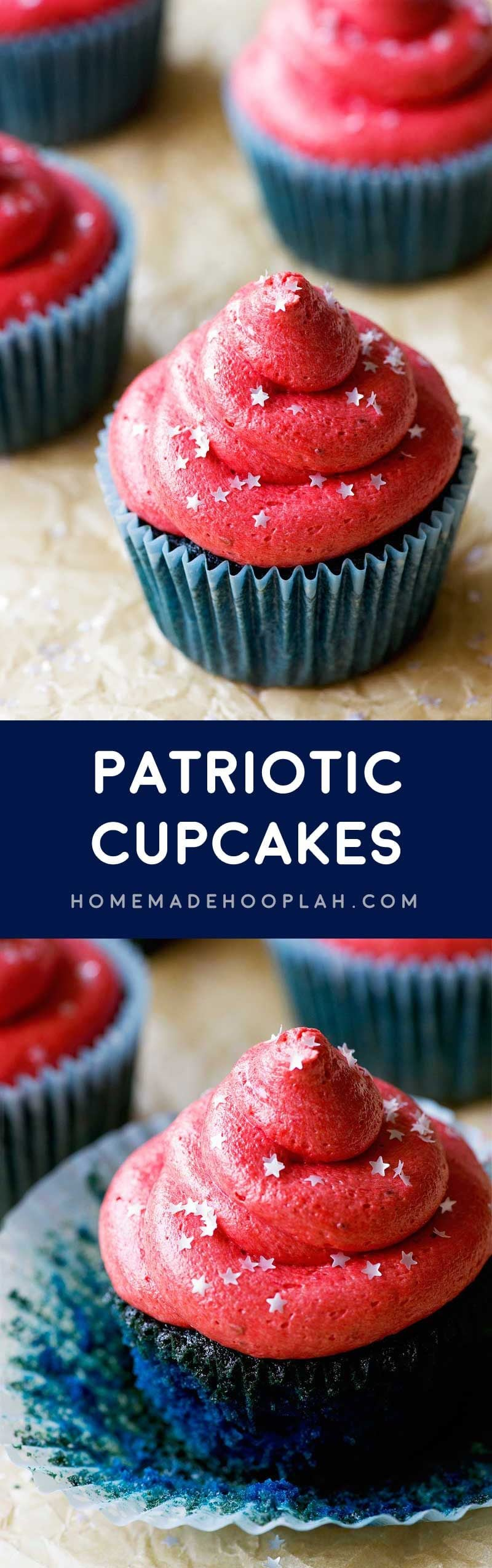 Patriotic Cupcakes! Celebrate the biggest summer holiday with these blue velvet cupcakes topped with real strawberry buttercream and sprinkled with silver edible star glitter. | HomemadeHooplah.com