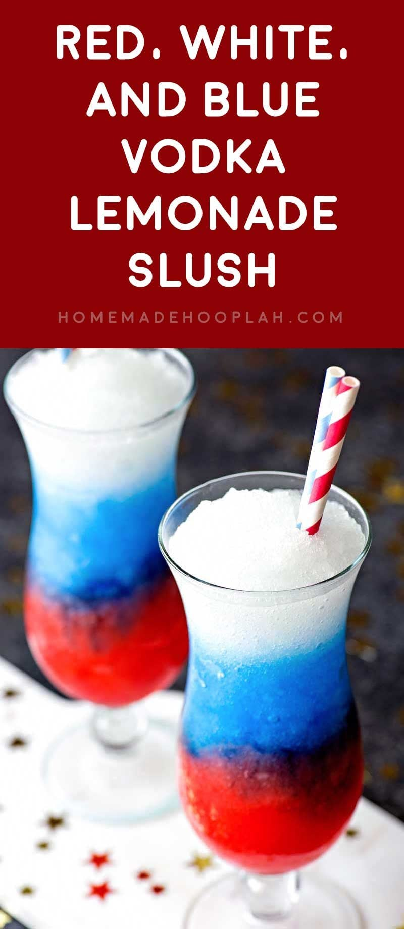 Red, White, and Blue Vodka Lemonade Slush! Celebrate your patriotism with a refreshing (and colorful!) slush made with grenadine, blue curacao, and spiked lemonade.   HomemadeHooplah.com