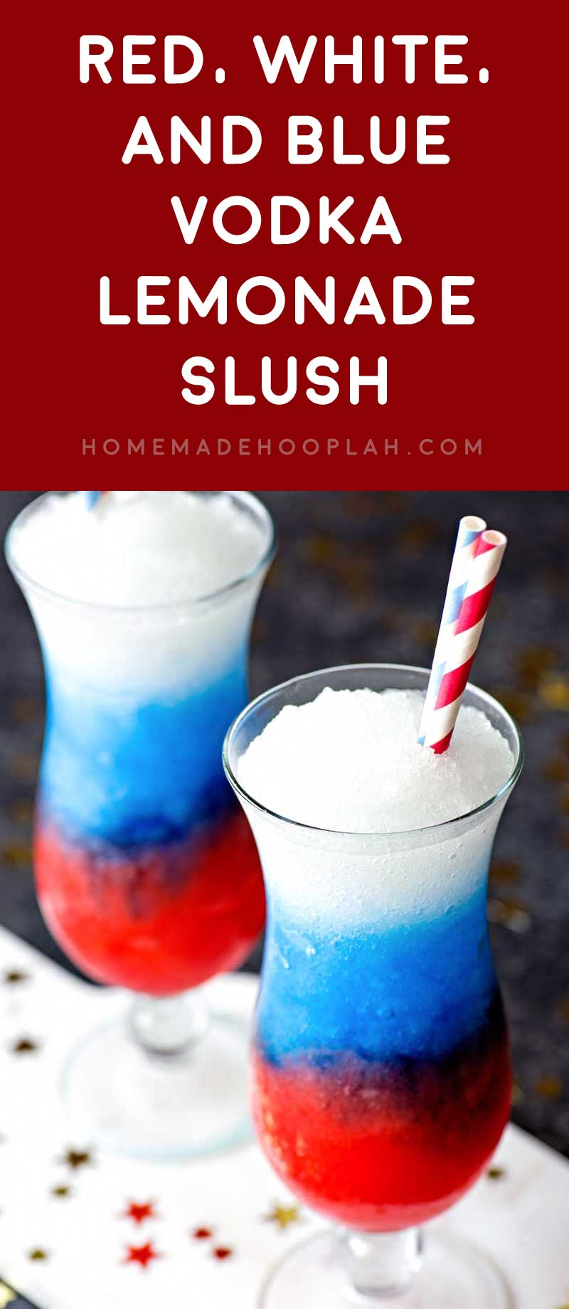 Red, White, and Blue Vodka Lemonade Slush! Celebrate your patriotism with a refreshing (and colorful!) slush made with grenadine, blue curacao, and spiked lemonade. | HomemadeHooplah.com
