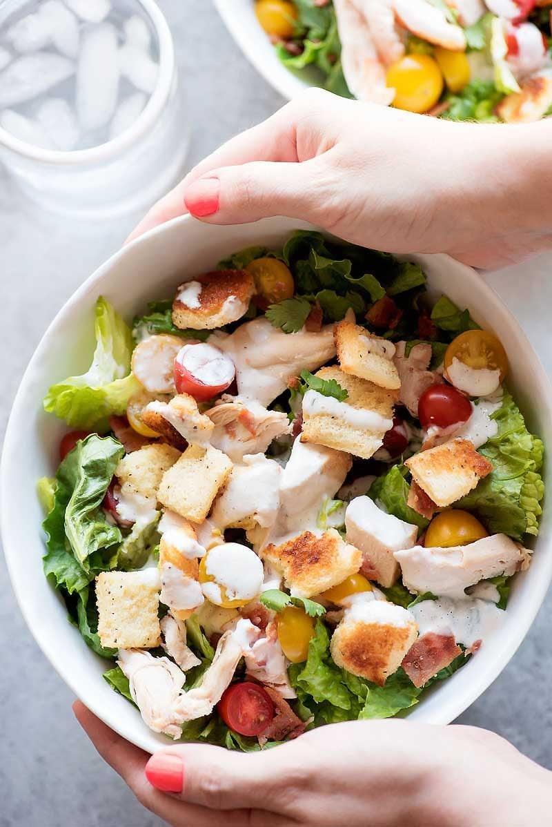 Chicken BLT Salad with Buttermilk Dressing - Homemade Hooplah