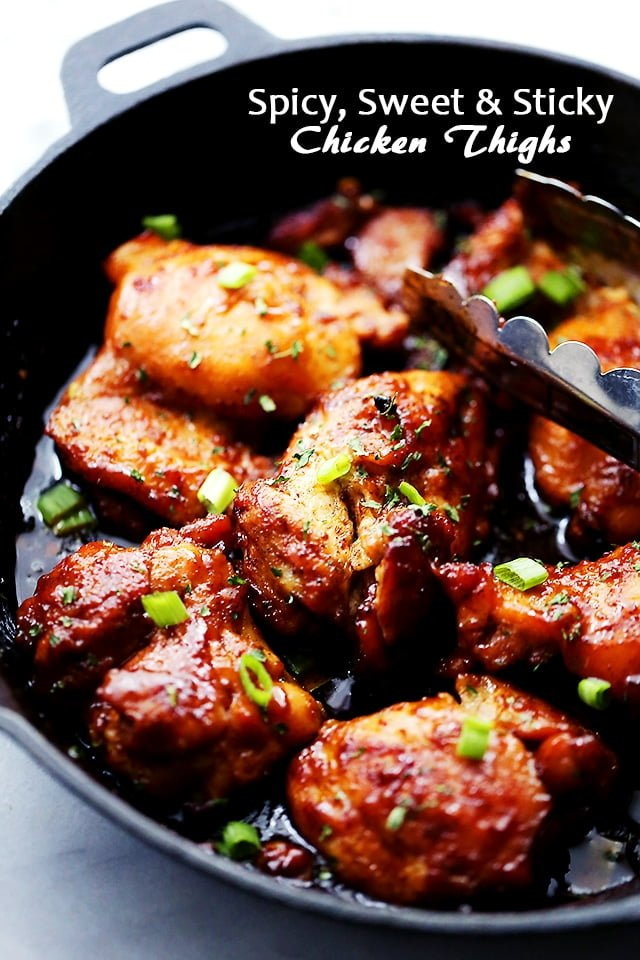 Spicy, Sweet, and Sticky Chicken Thighs