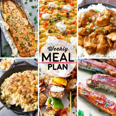 Weekly Meal Plan #20! A meal plan to help you keep things tasty each week, including honey garlic butter salmon, taco tater casserole, crock pot bourbon chicken, and more! | HomemadeHooplah.com