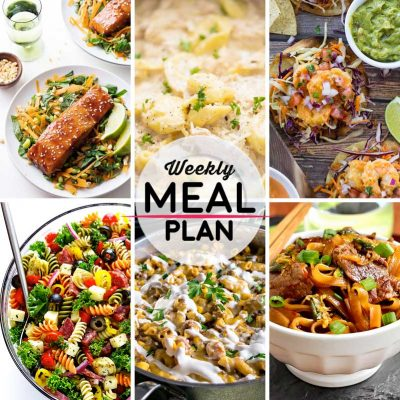Weekly Meal Plan #21! A meal plan to help you keep things tasty each week, including hoisin glazed salmon, chicken alfredo tortellini, bang bang shrimp tacos, and more! | HomemadeHooplah.com
