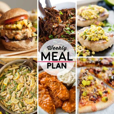 Weekly Meal Plan #22! A meal plan to help you keep things tasty each week, including salmon patties, barbacoa, ranch pork chops, and more! | HomemadeHooplah.com