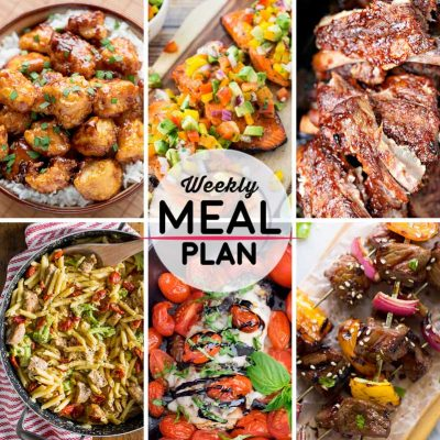 Weekly Meal Plan #23! A meal plan to help you keep things tasty each week, including sweet and sour chicken, BBQ salmon, slow cooker spare ribs, and more! | HomemadeHooplah.com