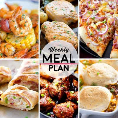 Weekly Meal Plan #24! A meal plan to help you keep things tasty each week, including shrimp foil packets, smoky ranch pork chops, Hawaiian BBQ pizza, and more! | HomemadeHooplah.com