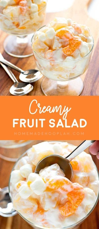 Creamy Fruit Salad! A summer-loving fruit salad with mandarin oranges, pineapple, and pears mixed with mini marshmallows and vanilla greek yogurt. #fruitsalad| HomemadeHooplah.com