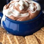 Fluffy S'mores Dip! Fluffy marshmallow and homemade chocolate cream are swirled together to make this easy and fun dessert dip. Plus, it's a no-bake recipe, so no heating required! | HomemadeHooplah.com