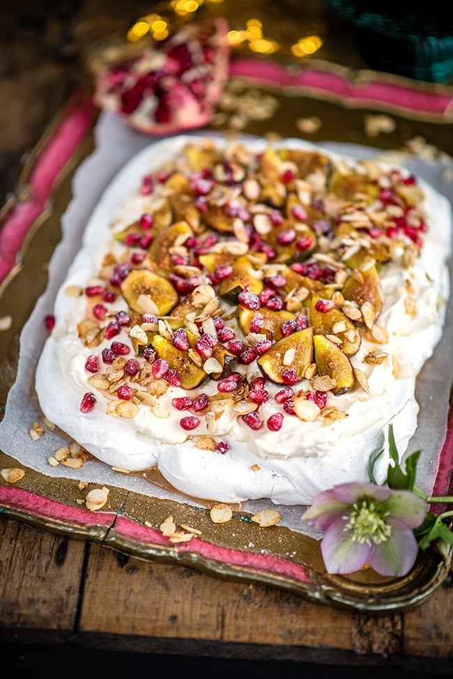 Rosewater Pavlova with Syrup-soaked Figs and Pomegranate