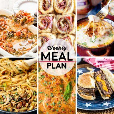 Weekly Meal Plan #25! A meal plan to help you keep things tasty each week, including baked mahi mahi, ham and cheese rollups, Italian sausage ravioli, and more! | HomemadeHooplah.com