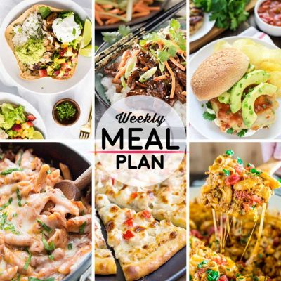 Weekly Meal Plan #26! A meal plan to help you keep things tasty each week, including grilled fish taco burrito bowls, spicy ginger szechuan beef, green chile grilled chicken burgers, and more! | HomemadeHooplah.com