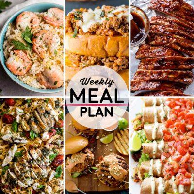 Weekly Meal Plan #27! A meal plan to help you keep things tasty each week, including creamy lemon shrimp spaghetti, Italian sloppy joe sandwiches, slow cooker BBQ ribs, and more! | HomemadeHooplah.com