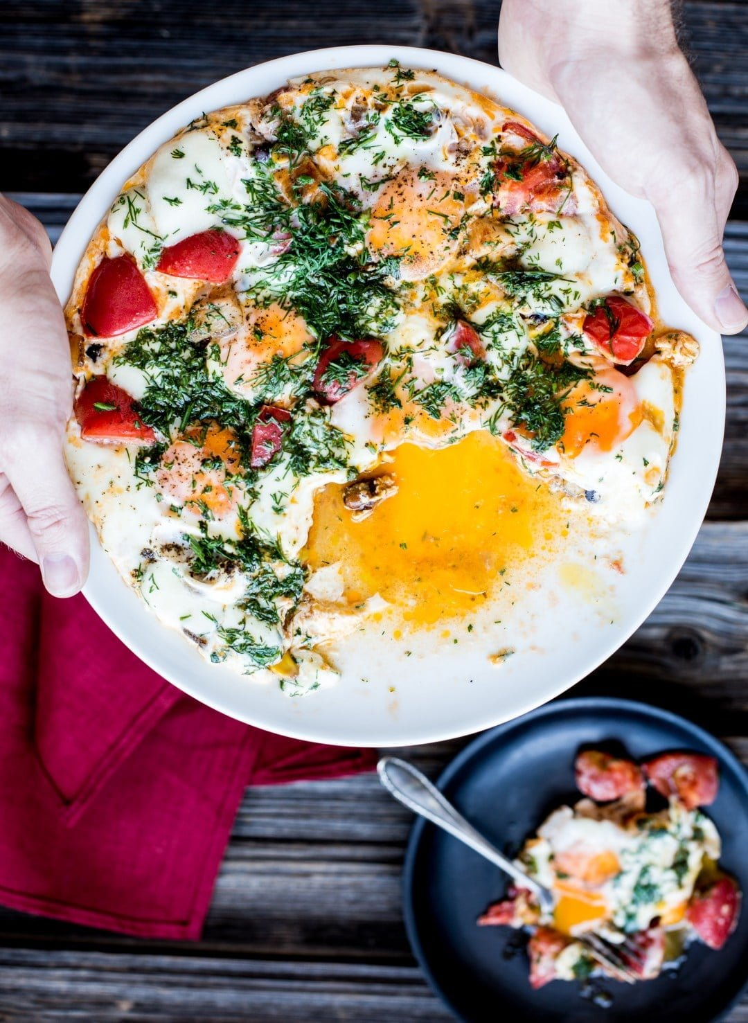 Baked Eggs with Tomato and Bacon