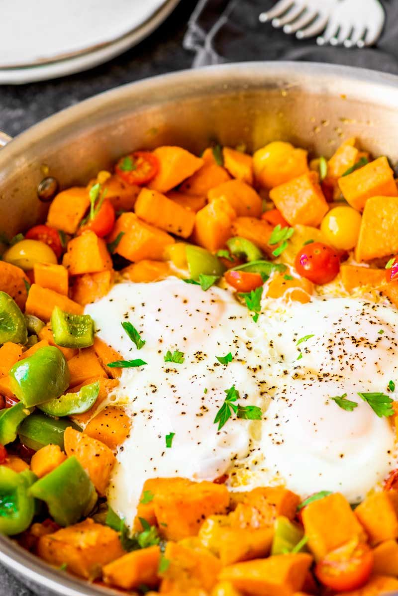 Sweet Potato Hash With Fried Eggs Tender And Delicious Sweet Potato Cooked With Onion