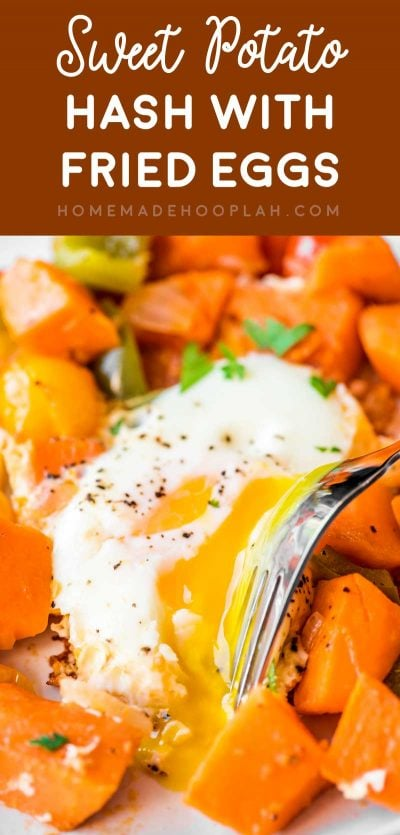 Sweet Potato Hash with Fried Eggs! Tender and delicious sweet potato cooked with onion, bell peppers, grape tomatoes, and a couple of fried eggs cooked in the middle. #sweetpotato #breakfastrecipes | HomemadeHooplah.com