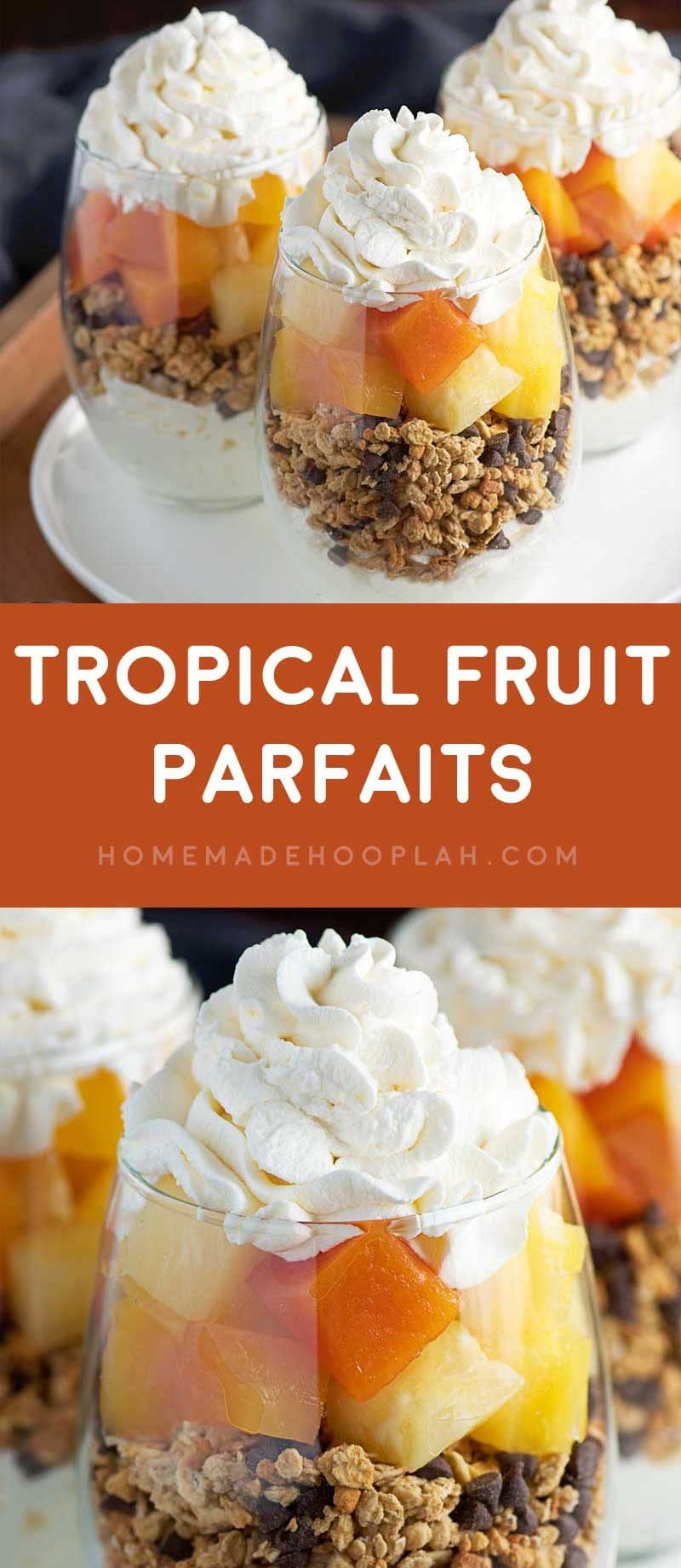 Tropical Fruit Parfaits! Decadent parfaits made with homemade whipped cream, granola, mini chocolate chips, and a tropical blend of fruit that comes together in just 15 minutes! | HomemadeHooplah.com FruitOnDemand AD @DoleSunshine