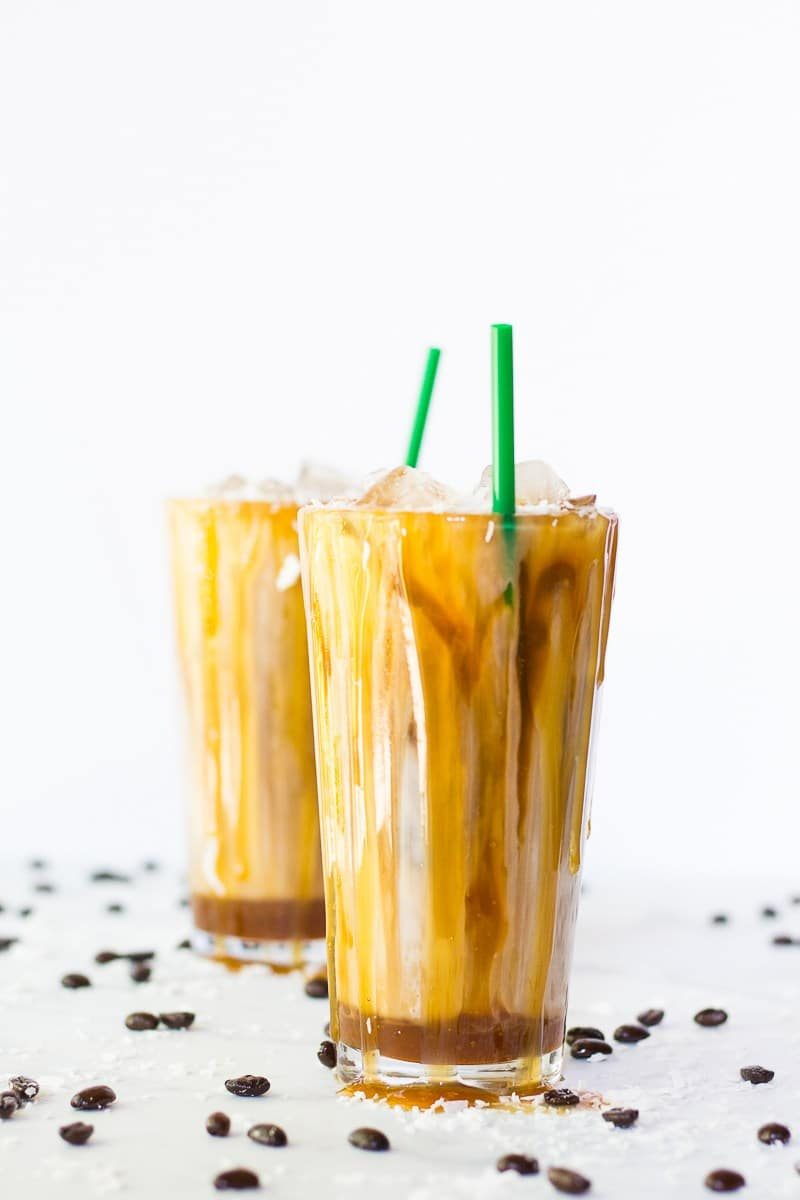 Salted Iced Coconut Milk Caramel Macchiatos