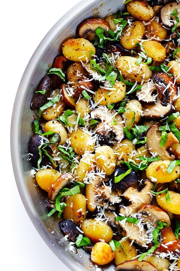 Toasted Gnocchi with Mushrooms, Basil, and Parmesan