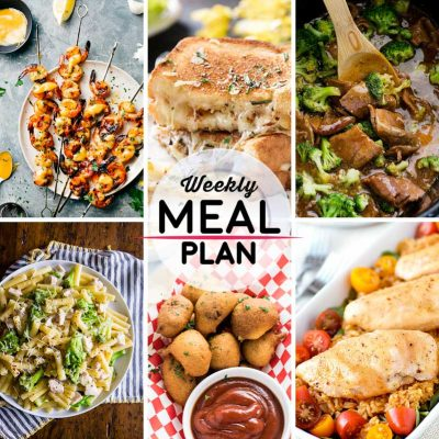 Weekly Meal Plan #29! A meal plan to help you keep things tasty each week, including sweet honey garlic shrimp, gourmet grilled cheese, beef and broccoli, and more! | HomemadeHooplah.com