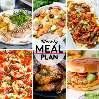 Weekly Meal Plan #31! A meal plan to help you keep things tasty each week, including dukkah crusted salmon, mexican chicken casserole, crock pot pepper steak, and more! | HomemadeHooplah.com