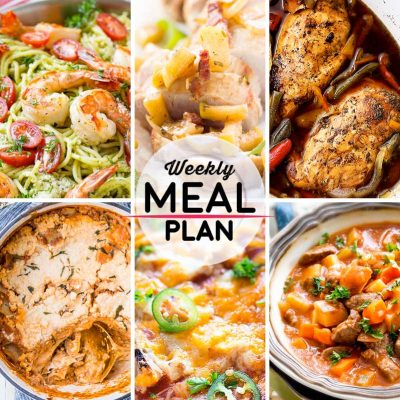 Weekly Meal Plan #32! A meal plan to help you keep things tasty each week, including shrimp pesto pasta, oven roasted pork tenderloin, balsamic chicken, and more! | HomemadeHooplah.com