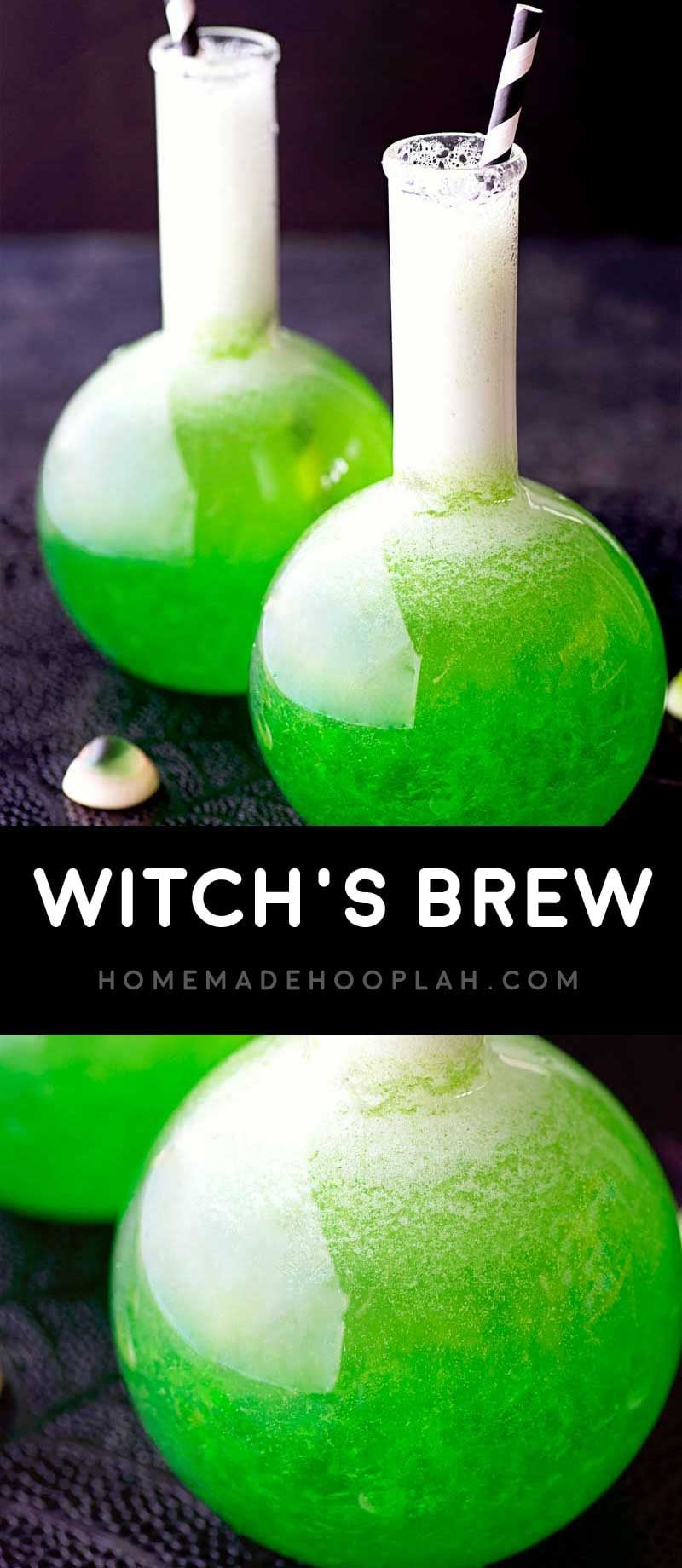 Witch's Brew! Classic lime jello mixed with fruit juice, vodka, and a dash of sprite. A perfect Halloween drink for any type of creepy party! | HomemadeHooplah.com