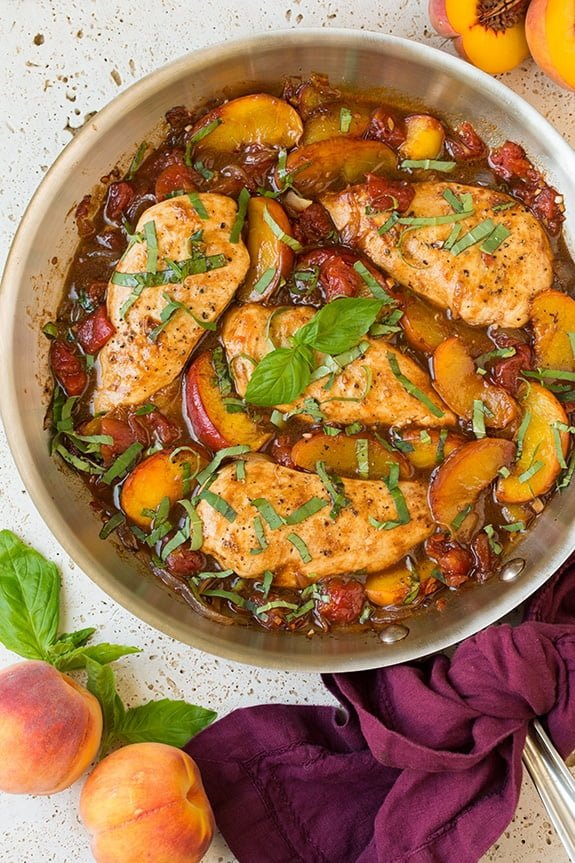 Balsamic Peach Chicken Skillet