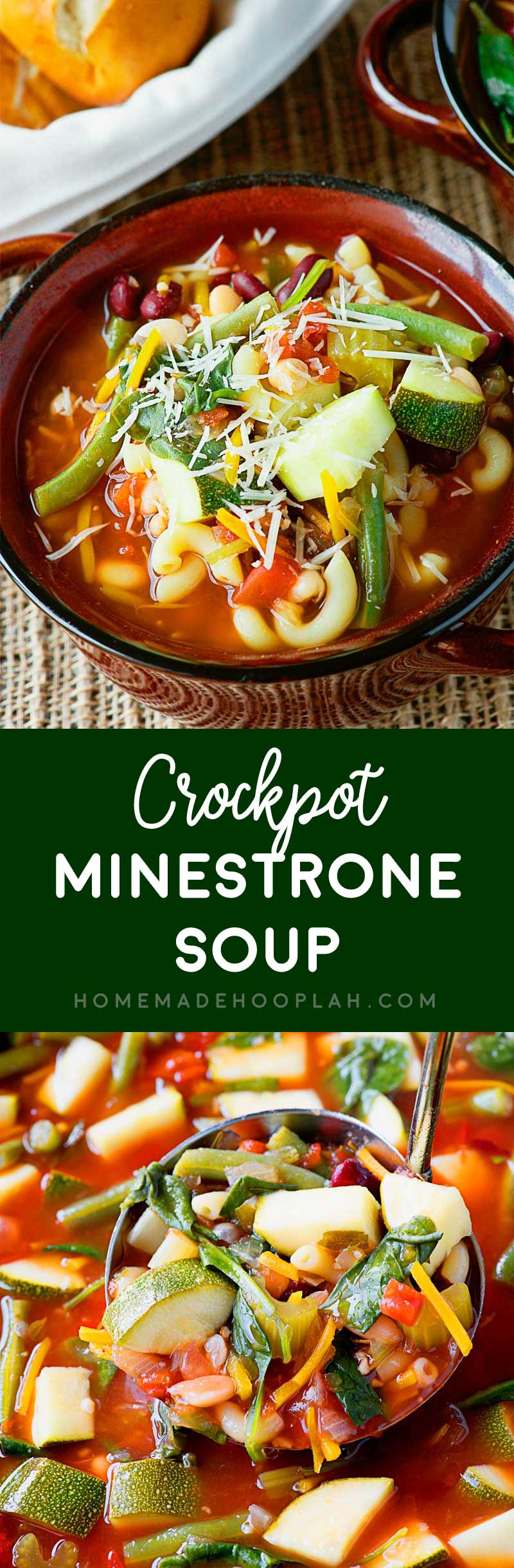 Crock Pot Minestrone Soup! An easy to make and hearty meatless soup with a melody of herbs and fresh produce that's slow cooked in your crock pot. It freezes well, too! | HomemadeHooplah.com