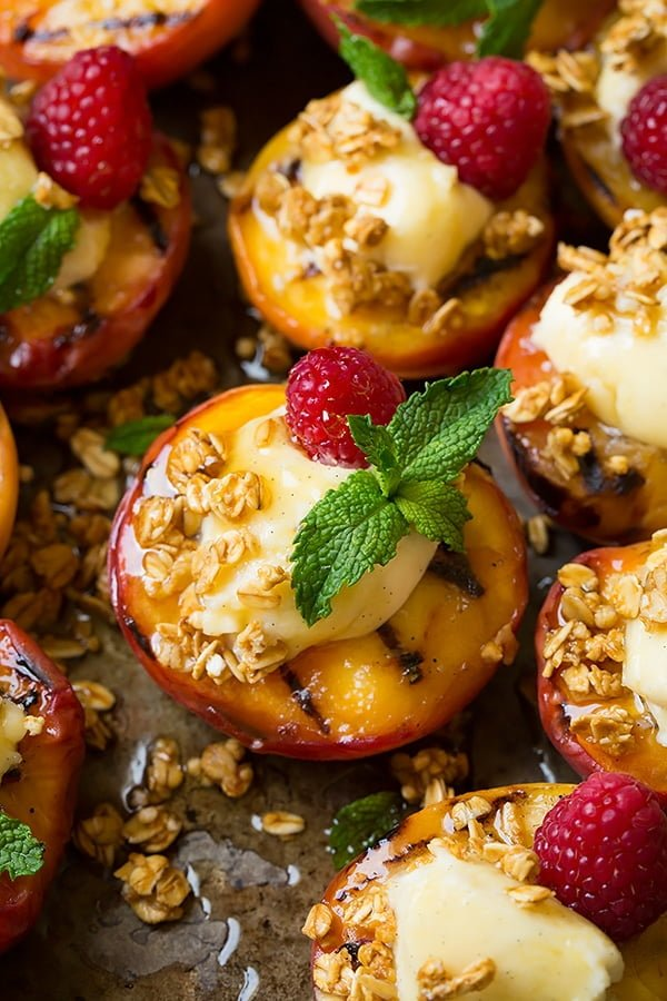 Grilled Peaches with Vanilla Bean Mascarpone, Honey and Granola