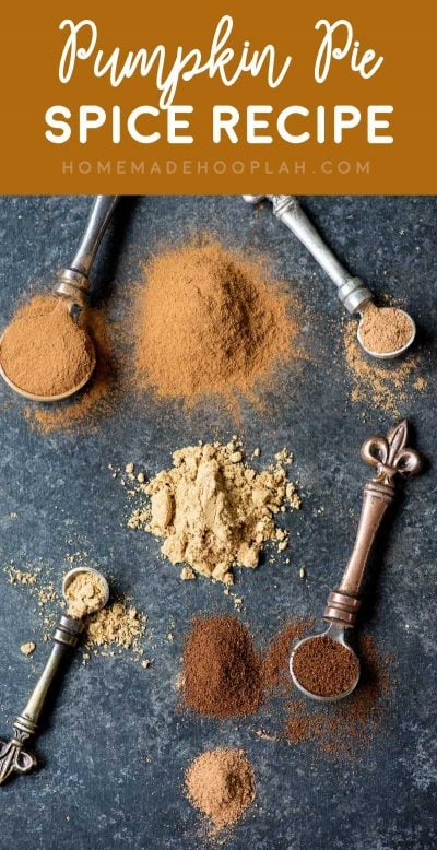 Pumpkin Pie Spice Recipe! Forget to pick up some pumpkin pie spice? Me, too! Thankfully you can make your own pumpkin spice at home with these four common spices! | HomemadeHooplah.com