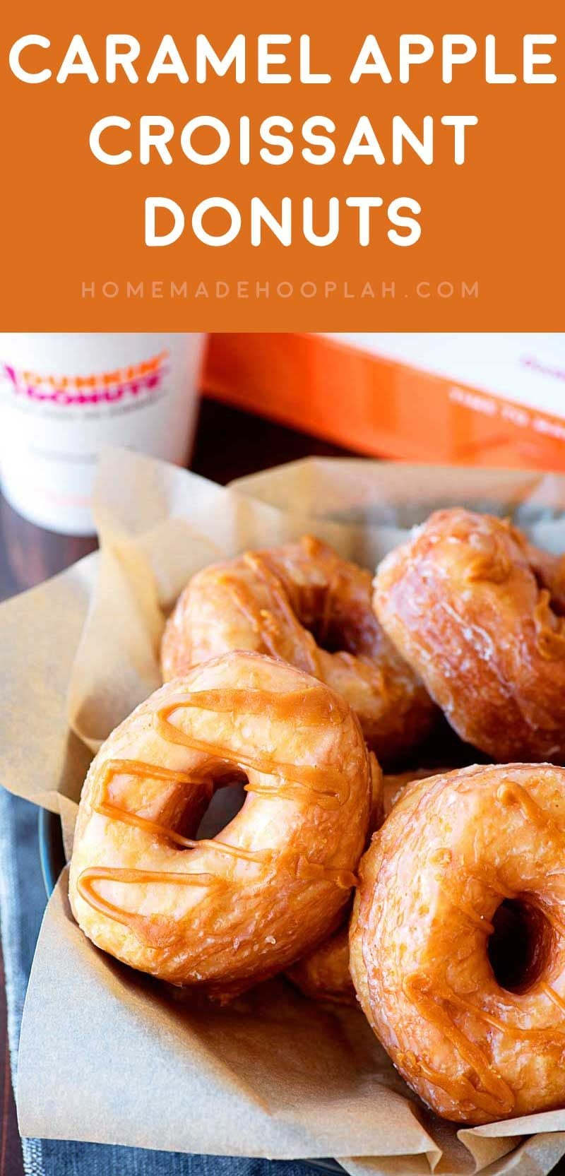 The Absolute Best Donut for Fall! Need a new foodie favorite for this fall? You're in luck! These Caramel Apple Croissant Donuts from Dunkin' Donuts are the best type of treat for any time of day! | HomemadeHooplah.com AD