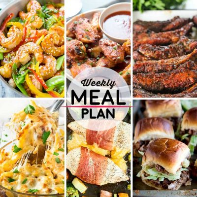 Weekly Meal Plan #33! A meal plan to help you keep things tasty each week, including teriyaki shrimp stir fry, piri piri chicken wings, slow cooker ribs, and more! | HomemadeHooplah.com