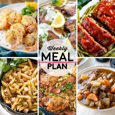 Weekly Meal Plan #34! A meal plan to help you keep things tasty each week, including crunchy baked coconut shrimp, pork scallopini, classic meatloaf, and more! | HomemadeHooplah.com